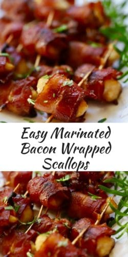 Easy Marinated Bacon Wrapped Scallops Pinterest Pin