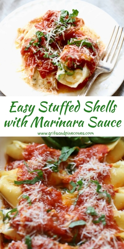 Easy Stuffed Shells with Marinara Sauce is a delicious make-ahead pasta entrée with not one, but three kinds of cheeses; ricotta, mozzarella, and parmesan, and the most wonderful homemade marinara sauce ever! #comfortfood, #stuffedshells, #pastarecipes, #stuffedshellsrecipe, #ricottastuffedshells, #easystuffedshells