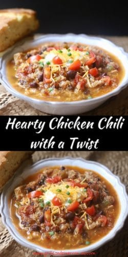 Hearty Chicken Chili with a Twist Pinterest image