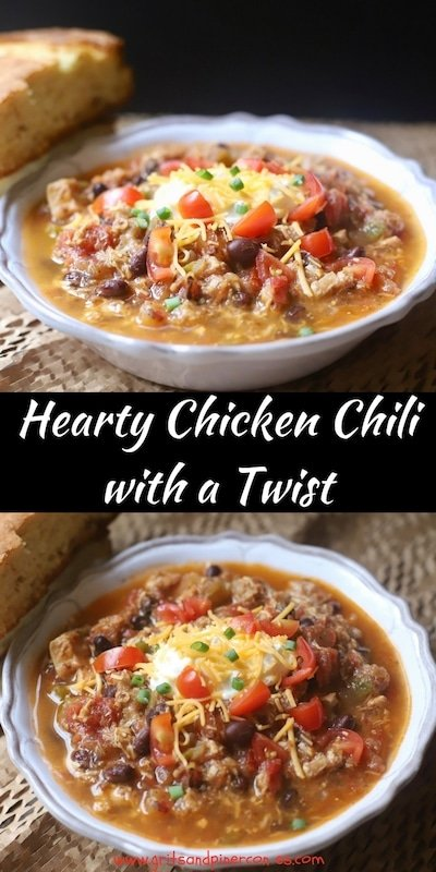 Salsa Verde gives Hearty Chicken Chili with a Twist a wonderful depth of flavor and smoky fire-roasted tomatoes, black beans, and spicy tomatoes and green chilies make this one delicious, quick and easy recipe that your family will ask for time and time again.