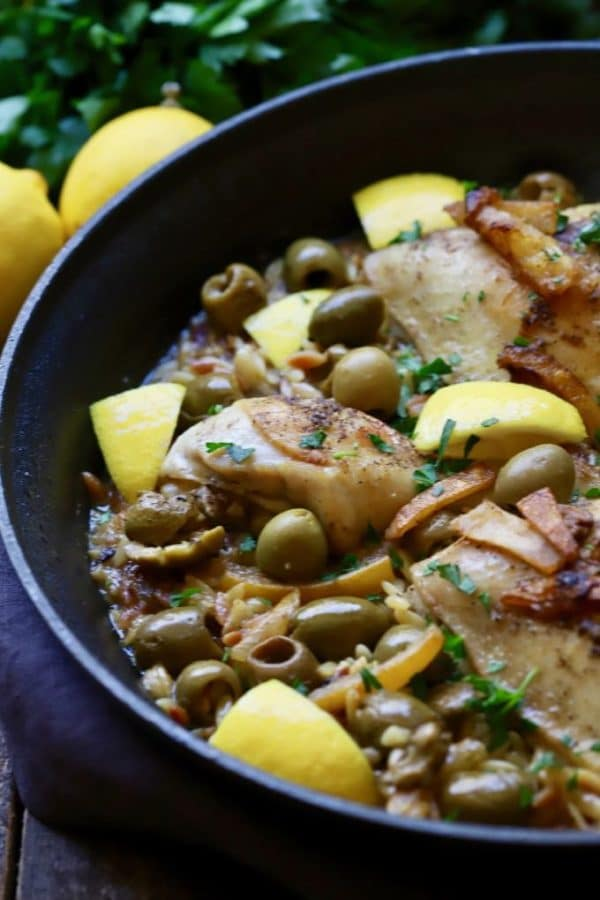 Skillet Chicken with Lemon and Olives in a large skillet ready to serve