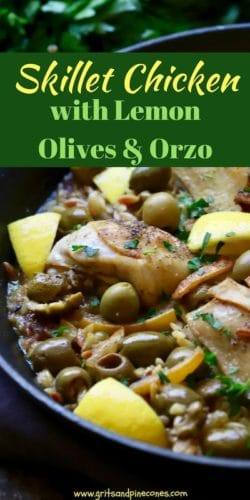 Skillet Chicken with Lemon and Orzo Pinterest pin