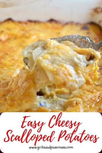 Pinterest pin for cheesy scalloped potatoes.
