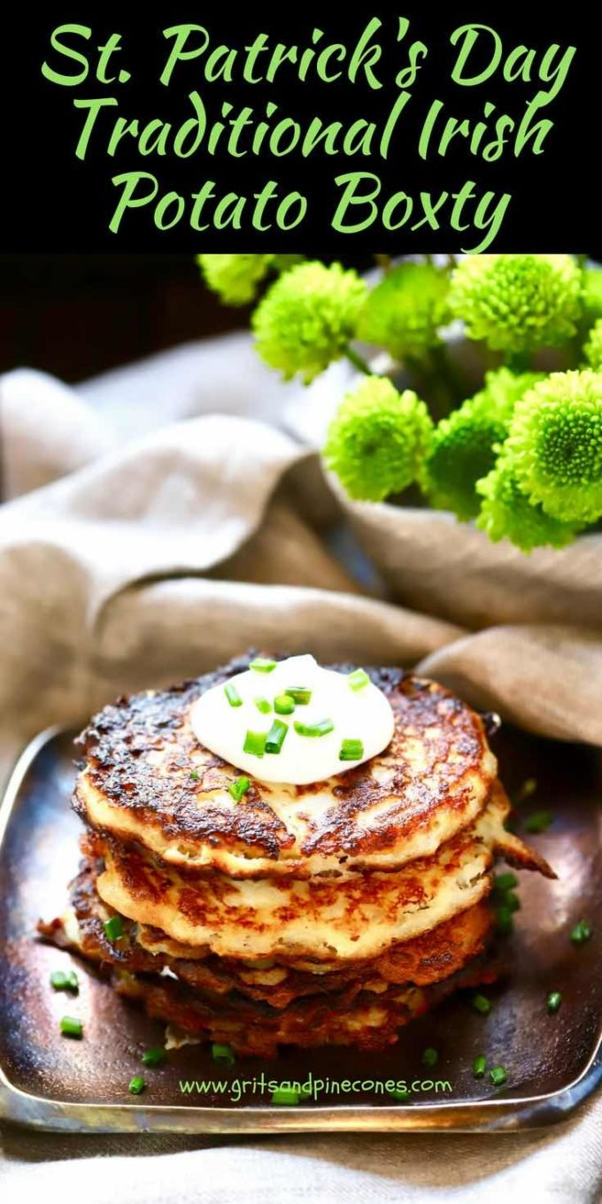 Celebrate St. Patrick's Day and put a smile on your face and a jig in your step with Traditional Irish Potato Boxty or potato cakes! Boxty are delicious potato pancakes, crispy on the outside and soft and fluffy on the inside and made with a combination of mashed potatoes and raw grated potatoes.