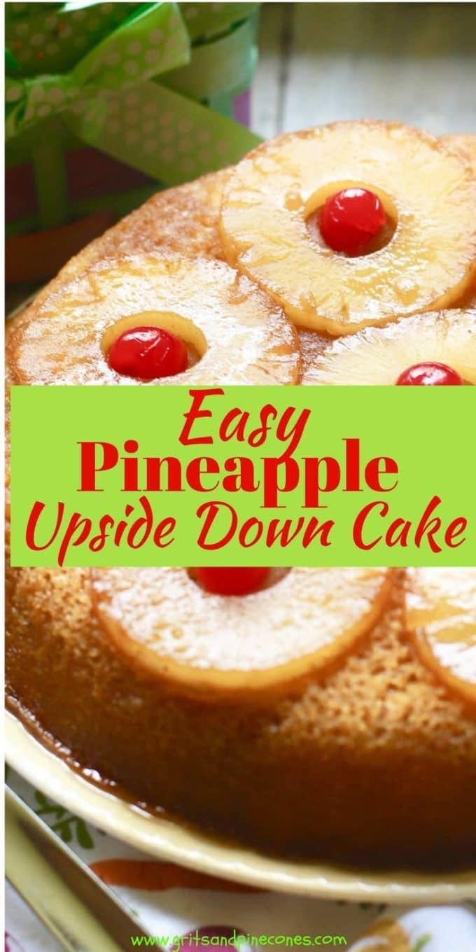 Nothing says spring or summer like a yummy Pineapple Upside-Down Cake! An old-fashioned, classic Easter dessert, this recipe for Easy Pineapple Upside-Down Cake features caramelized pineapple and maraschino cherries over a rich, moist, buttery, delicious cake!