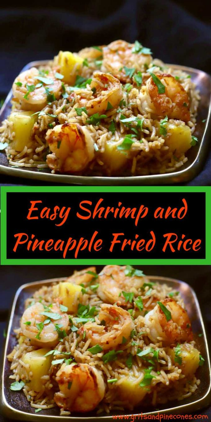Easy Shrimp and Pineapple Fried Rice is a quick, easy and healthy weeknight dinner meal recipe full of fresh, briny gulf shrimp, fluffy rice, chives, garlic, and pineapple chunks, bursting with juicy sweetness that your family will love! And, you can have it on the table in 25 minutes! #shrimprecipes, #friedricerecipes, #shrimp, #friedrice, #rice, #ricerecipes