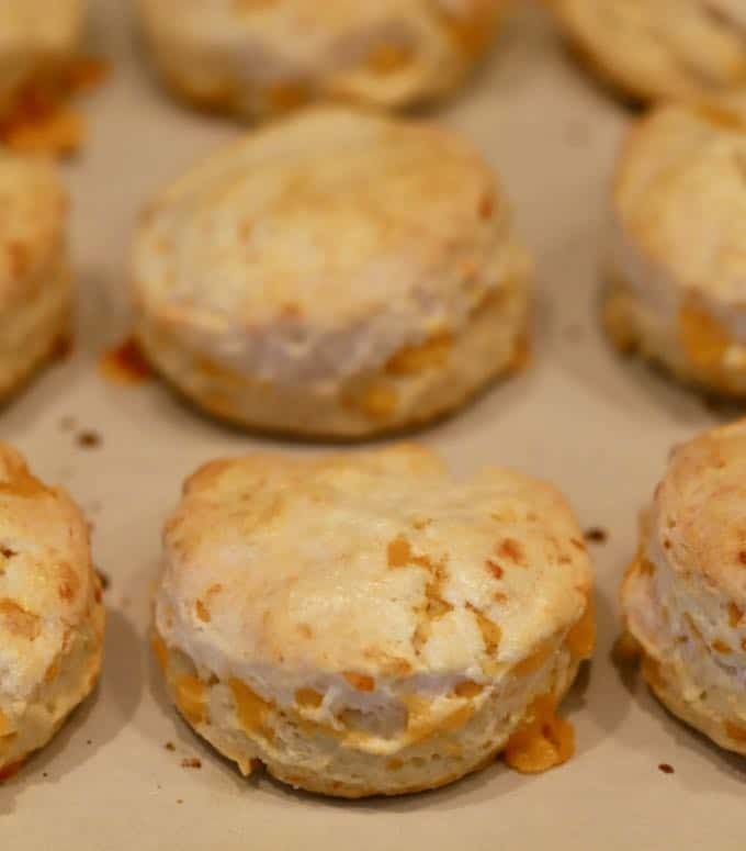 Golden brown Easy Southern Cheddar Biscuits hot out of the oven on a baking sheet