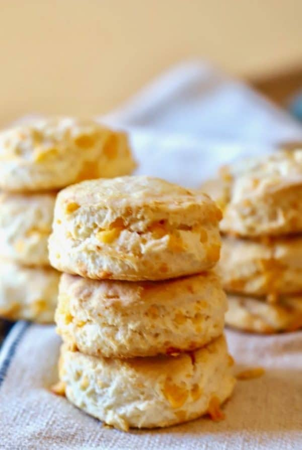 Easy Southern Cheddar Biscuits in a stack hot out of the oven