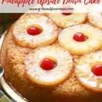 Pinterest pin, pineapple upside down cake.