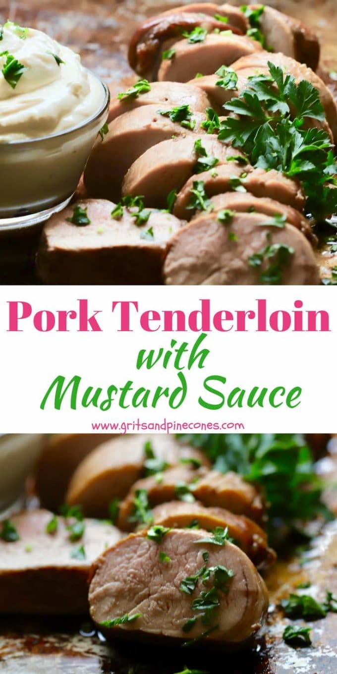 Pork Tenderloin with Mustard Sauce is an easy and healthy dinner entrée the whole family will love. In this recipe, the pork is marinated overnight in a decadent marinade of bourbon, brown sugar and soy sauce and then baked in the oven. An easy make-ahead, mustard sauce is served on the side and completes this delicious dish.