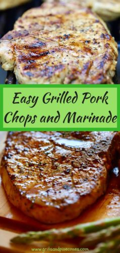 Easy Grilled Pork Chops and Marinade Pinterest pin