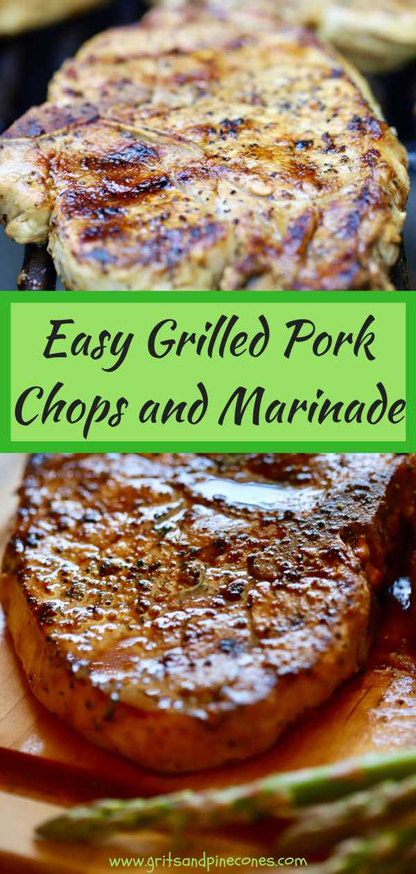 Just in time for grilling season, Easy Grilled Pork Chops and Marinade would be perfect for your next barbecue. A flavorful, simple pork chop marinade made with soy sauce, fresh garlic, and lemon-pepper seasoning makes all the difference and does wonders to keep your grilled pork chops both tender and juicy. #porkchops, #barbecuerecipes, #recipesforthegrill, #barbecue, #porkrecipes, #grilledporkchops