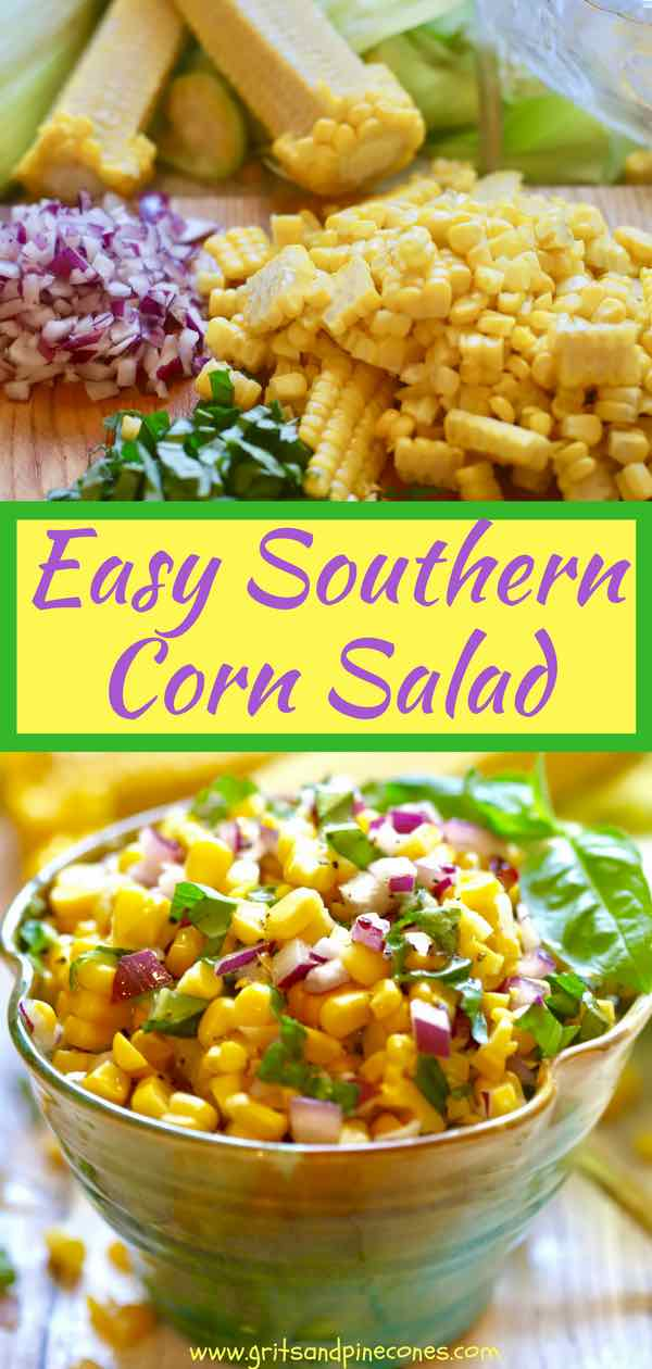 Easy Southern Corn Salad only takes minutes to make and, because it's made without mayonnaise, it's fresh, light and healthy. Coming in at only 155 calories per serving, this yummy corn salad is also full of vitamins and minerals. It's perfect to take to a potluck or to serve at a backyard barbecue or picnic.