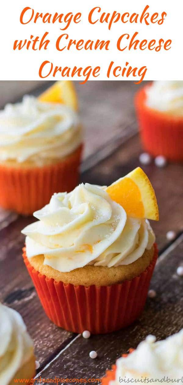 Easy Orange Cupcakes with Cream Cheese Orange Frosting are an amazing take on white cupcakes. The orange flavor is subtle in the cupcake and a bit bolder in the frosting. Thank you, Pam and Sara Brand, for sharing this delicious recipe from the Biscuits and Burlap Blog!