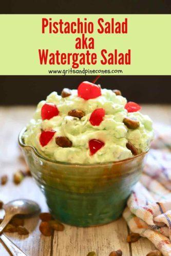 Pinterest pin for pistachio salad.