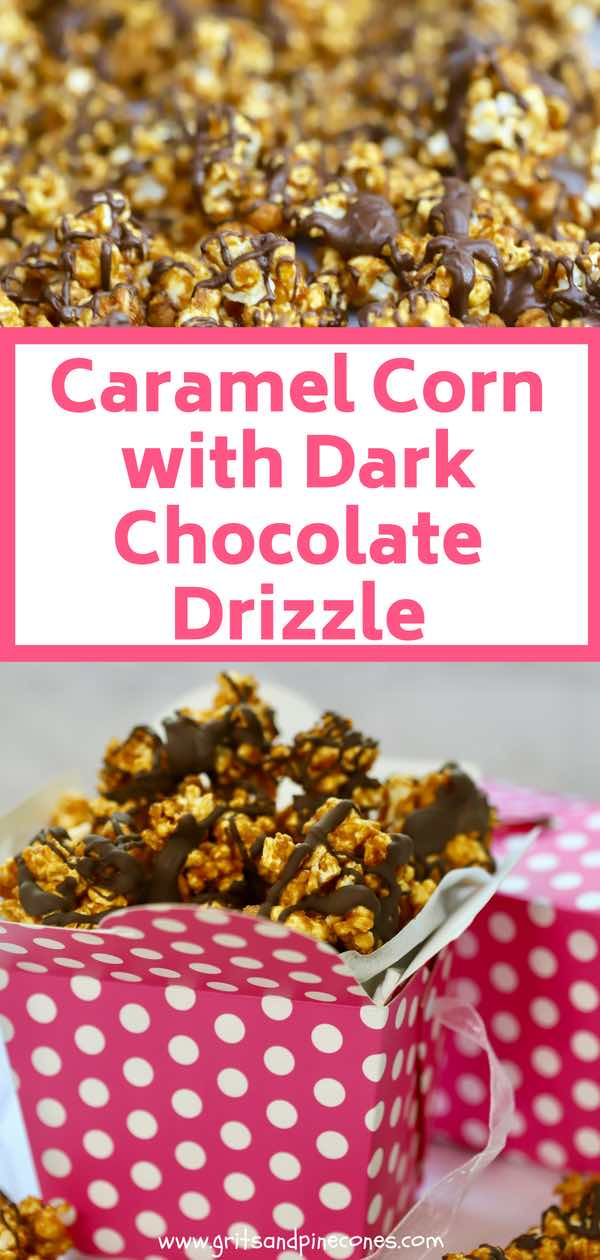 Caramel Corn with Chocolate Drizzle is an easy to make, sinfully rich, crunchy taste sensation with freshly popped popcorn and peanuts topped with a creamy sweet caramel glaze and to top it off, a drizzle of decadent dark chocolate. #sweettreat, #caramelcorn, #snack, #afterschoolsnack, #moosemunch, #crackerjacks, #sweettreats, #snacks