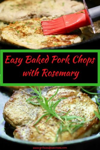 Easy Baked Pork Chops with Rosemary Pinterest Pin A