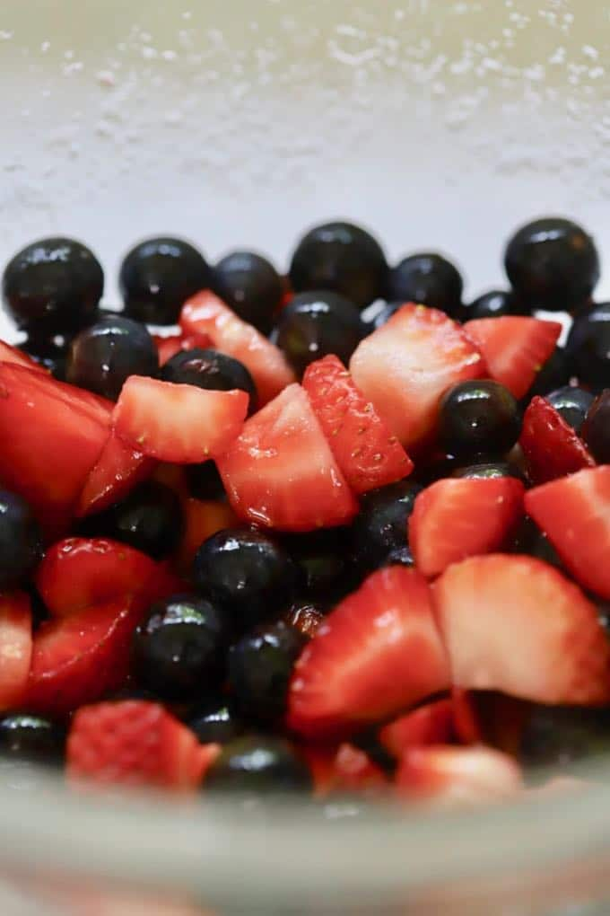 Macerated blueberries and strawberries for Red White and Blue Ice Cream Pie dessert