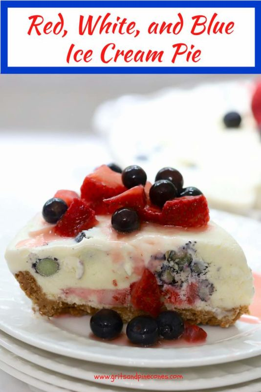 Red, White, and Blue Ice Cream Pie Pinterest Pin