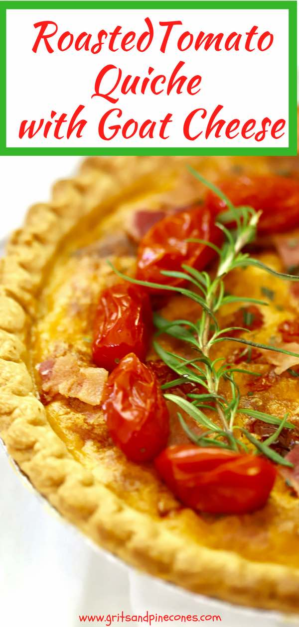 Treat Mom to this Roasted Tomato Quiche with Goat Cheese for Mother's Day! It's a wonderful, flavorful, quick and easy quiche full of sweet roasted tomatoes, salty bacon, tangy goat cheese, basil pesto, and fresh rosemary. It's perfect for a special Mom on her special day!