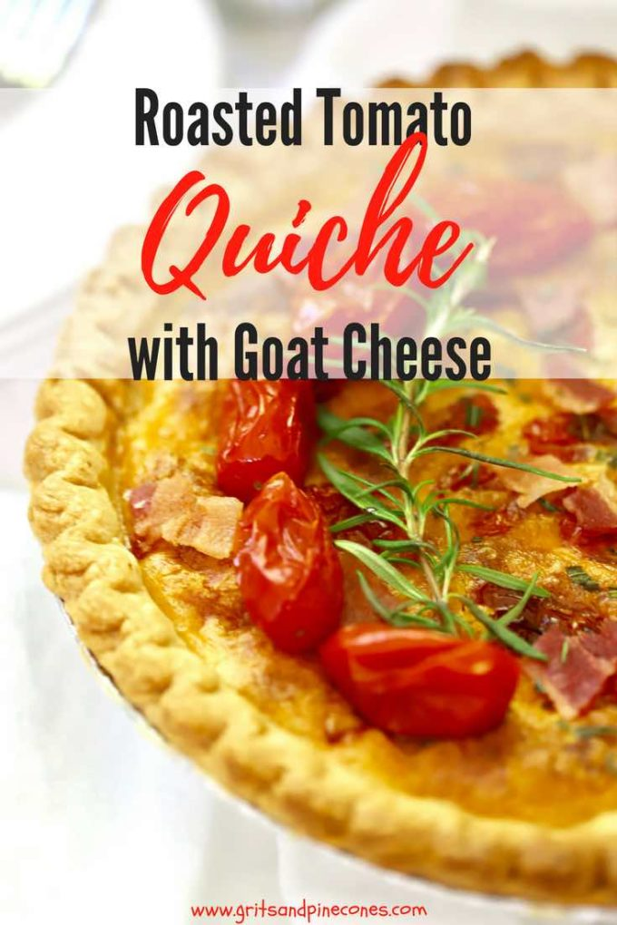 This Roasted Tomato Quiche with Goat Cheese recipe is a flavorful, make- ahead, quick and easy, quiche full of roasted tomatoes, bacon, tangy goat cheese, basil pesto, and fresh rosemary. It's perfect for a special weekend breakfast or when you want something extra-special for company. It's also a great main dish for a light dinner. #easyrecipe, #breakfast, #brunch, #dinner, #dinnerrecipe, #comfortfood, # #sundaysupper, #weeknightdinner, #makeahead, #maindish