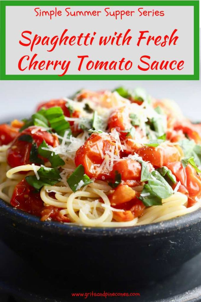 Part of my Simple Summer Supper Series, Spaghetti with Fresh Cherry Tomato Sauce is spaghetti pasta topped with luscious, nutritious, fresh summer cherry tomatoes and sweet aromatic basil made into a light but full-flavored cherry tomato pasta sauce and then garnished with nutty, savory parmesan cheese. #lightsummermeals, #simplesummersupper, #cherrytomatosauce, #cherrytomatopastasauce, #tomatosaucefromscratch, #easysummerdinnerrecipes