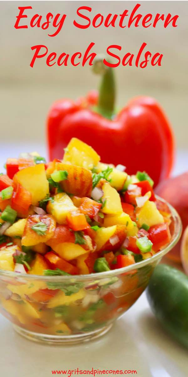 All it takes is one taste of this sweet and savory Easy Southern Fresh Peach Salsa and you will be enamored! This quick and easy, healthy recipe calls for fresh, luscious sweet peaches and crisp and zesty jalapeños, along with some fresh red bell pepper, a little onion, fresh tangy lime juice, and cilantro. #peachsalsa, #salsa, #salsarecipes, #peachrecipes