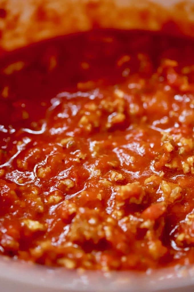Sausage and marinara sauce ready to go in Easy Supreme Pizza Casserole