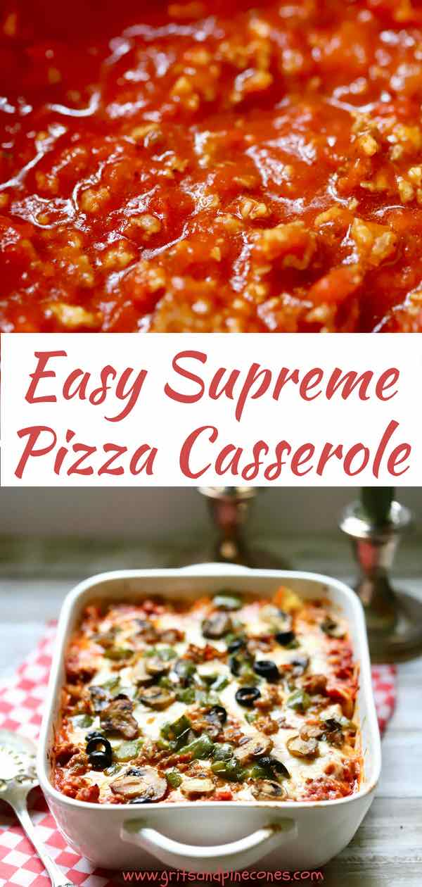 Easy Supreme Pizza Casserole is just like a regular supreme pizza but without the crust. This pizza casserole is full of lots of melted gooey cheese, spicy Italian sausage, crisp bell pepper, earthy mushrooms, sliced black olives and, of course, the star of the show, pepperoni! #comfortfood, #pizza, #pizzacasserole, #easydinneridea, #mealskidslove