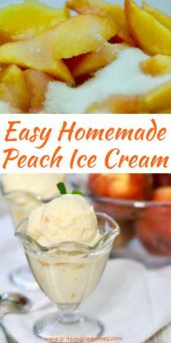 Homemade Fresh Peach Ice Cream Pinterest Pin