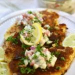 Three Parmesan Chicken Breast topped with creamy Cucumber Salsa
