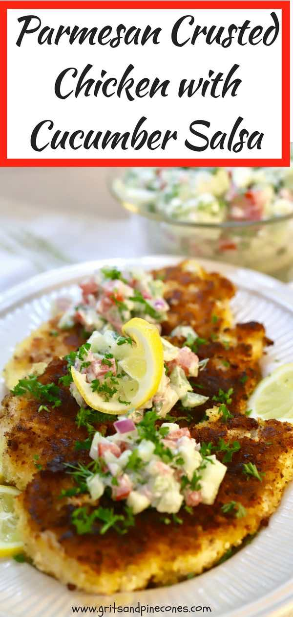 Easy Parmesan Chicken with Cucumber Salsa isa light summer meal and part of my Simple Summer Supper series which consists of crispy parmesan crusted chicken cutlets topped with a creamy and zesty cucumber salsa. #simplesummersupper, #lightsummermeals, #cucumbersalsa, #salsa, #parmesanchicken, #parmesancrustedchicken