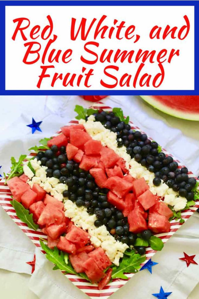 Bring on the sparklers and fireworks and celebrate the 4th of July with this cold and refreshing Red, White, and Blue Summer Fruit Salad! If you are looking for a 4th of July side dish, try my patriotic fruit salad, full of juicy sweet watermelon, tangy feta cheese, and nutritious blueberries. #4thofjuly, #4thofjulyfood, #redwhiteandbluesidedish,