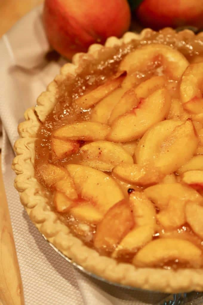Southern Style Easy Fresh Peach Pie fresh out of the oven and ready to eat.