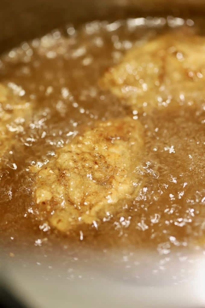 Oysters frying in peanut oil for Best Southern Crispy Fried Oysters