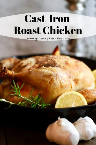 A roasted chicken in a cast iron skillet Pinterest pin for Cast Iron Roast Chicken.