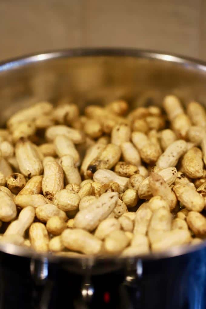 Cooking Easy Southern Boiled Peanuts in a large stock pot.