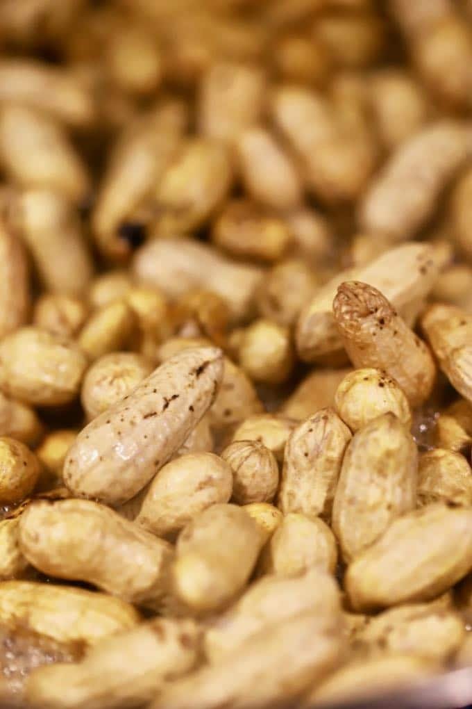 A close up photo of green peanuts ready to make Easy Southern Boiled Peanuts
