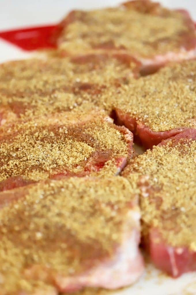 Pork steaks with dry rub for Reverse Seared Pork Steaks on the Grill