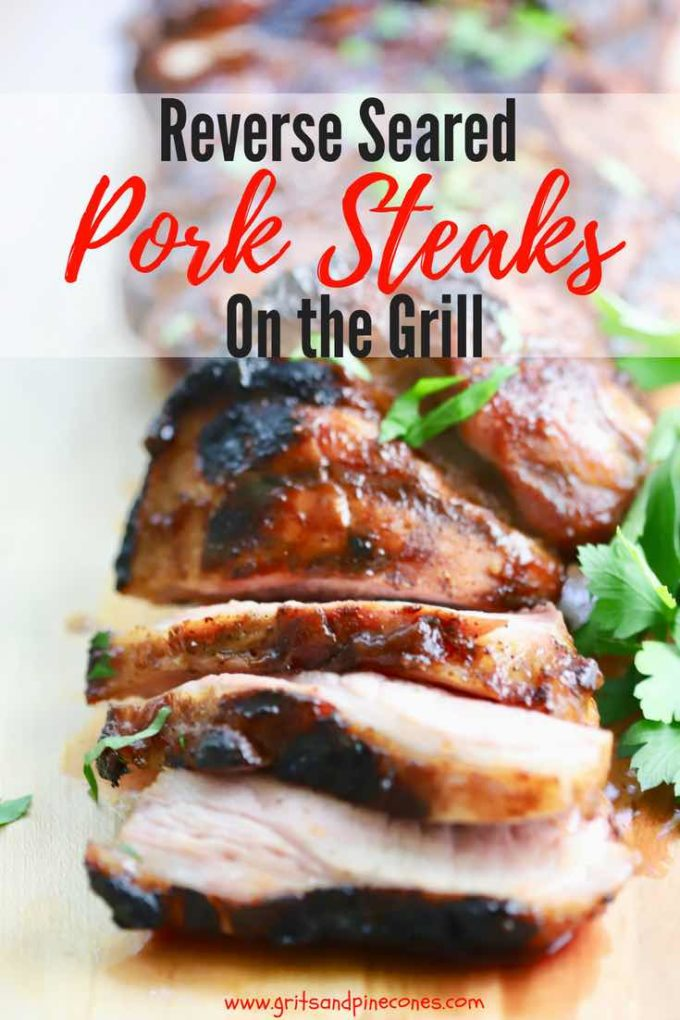 Looking for a super easy recipe for grilling pork steaks? If you are tired of grilling the same old thing, check out this delicious new way of Reverse Searing Pork Steaks on the Grill which cooks them low and slow at first, then fast sears them. Check out the step by step directions for how to cook pork steaks on the grill. #barbecue, #pork, #dinner, #easydinner, #dinnerrecipe,