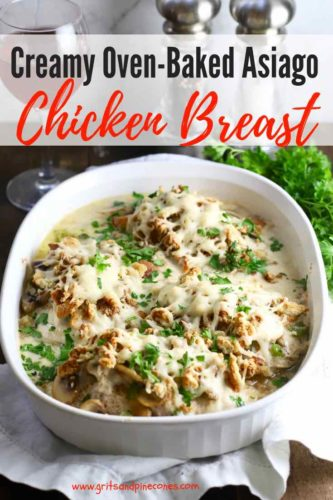 Creamy Oven Baked Asiago Chicken Breast Pinterest pin