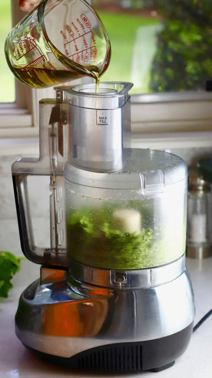 Adding olive oil to a food processor for Easy Homemade Southern Basil Pesto