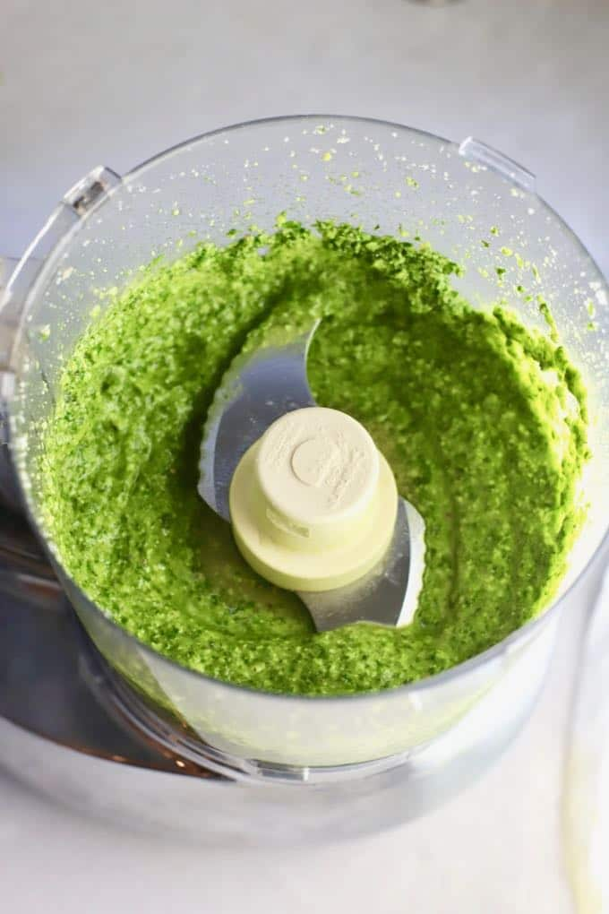 Easy Homemade Southern Basil Pesto in a food processor