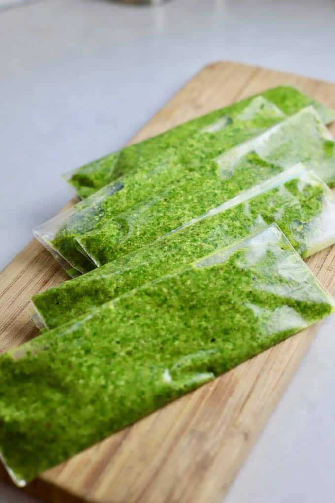 Frozen Easy Homemade Southern Basil Pesto in plastic snack bags