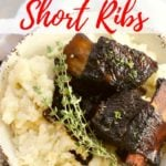 Easy Red Wine Braised Beef Short Ribs Pinterest pin
