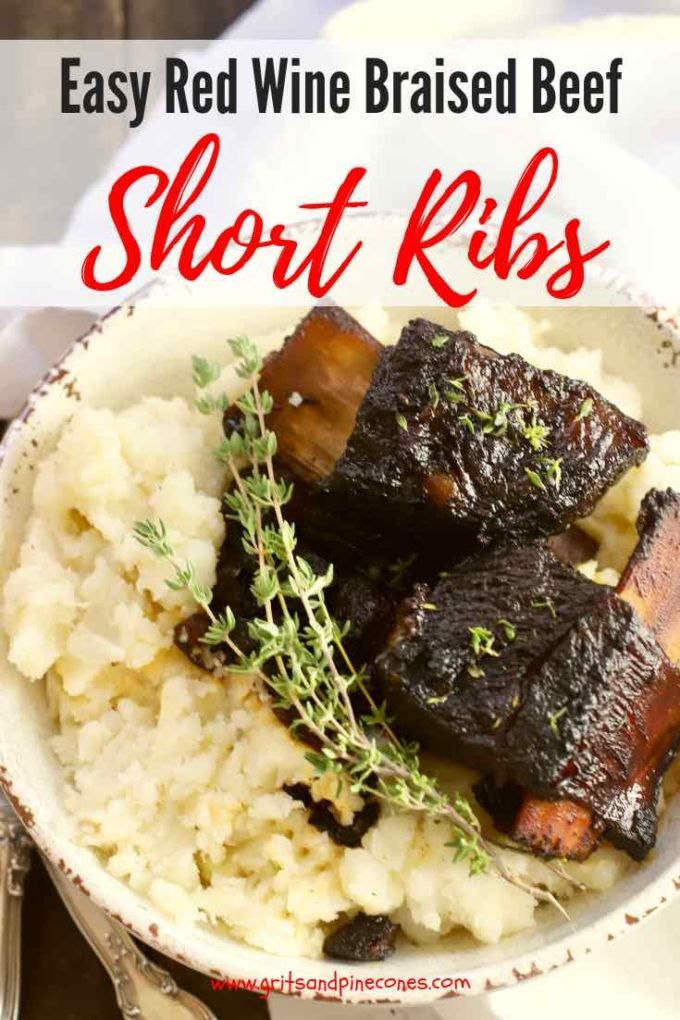 Easy Red Wine Braised Beef Short Ribs are the answer to your dinner party dreams. They are full of flavor, classic comfort food, and so tender the beef falls off the bone.  Braised beef short ribs are also the perfect make-ahead main dish for a special holiday dinner or a fabulous fall dinner party.
