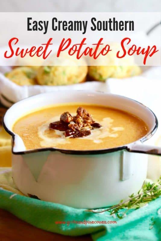 Easy Creamy Southern Sweet Potato Soup Pinterest pin.