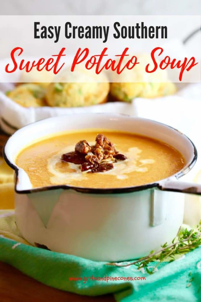As smooth as velvet, a little spicy, and filled with healthy vegetables, homemade Easy Creamy Southern Sweet Potato Soup is about as warm and cozy as you can get, and topped with candied pecans, it's 100% delicious!