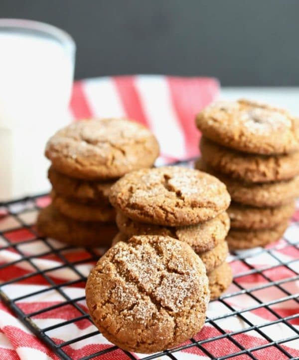 Stacks of Old Fashioned Crunchy Gingersnap Cookies on a cooling rack