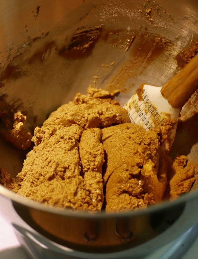 Cookie dough in a bowl forOld Fashioned Crunchy Gingersnap Cookies
